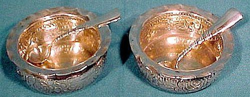 Pair GORHAM STERLING SALT DISHES with SPOONS c1889