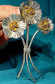 Huge STERLING FLOWERS COAT PIN with GILDING c1930s
