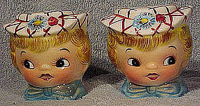 LEFTON MISS DAINTY CHINA SALT PEPPER SHAKERS c1960s