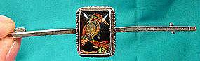 STERLING BUTTERFLY WING w/ BIRD BAR PIN c1925
