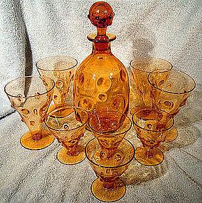 WEBB HAND BLOWN AMBER GLASS DECANTER & 8 GLASSES
