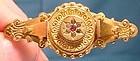 Classic 9K GARNETS & PASTE VICTORIAN WIREWORK PIN c1900