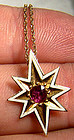 Victorian 18K RUBY & ENAMEL STAR PENDANT on 9K CHAIN