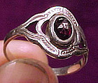 Dutch ARTS & CRAFTS STERLING GARNET RING c1910