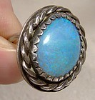 NAVAJO STERLING BLUE OPAL RING c1960s-70s