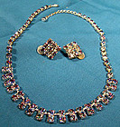 Vintage SP RAINBOW RHINESTONE NECKLACE & EARRINGS