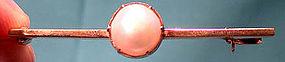 Edwardian 9K ROSE GOLD MABE PEARL BAR PIN c1900-10