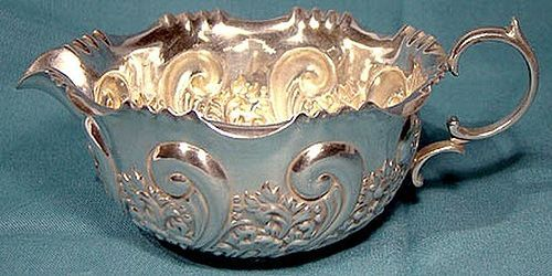 Ornate REPOUSSE STERLING CREAMER - Sheffield 1899
