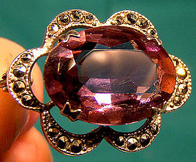 MARCASITE & AMETHYST CUT GLASS STERLING PIN c1910