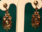Victorian 12K ROSE GOLD DROP EARRINGS c1900