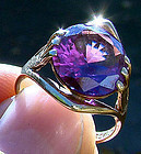 9K SYNTHETIC ALEXANDRITE RETRO RING 1940s 9 K