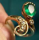 10k SYNTHETIC EMERALD & WHITE SAPPHIRES RING c1950s