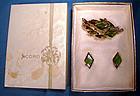 Signed CORO GREEN RHINESTONE PIN & EARRINGS in Orig BOX