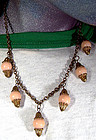 BRASS & CORAL CELLULOID DANGLE NECKLACE c1930s