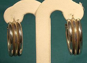 STERLING and 10K GOLD HOOP EARRINGS