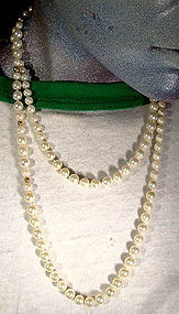 "38-1/2"" CULTURED PEARL NECKLACE with 14K CLASP & BEADS"