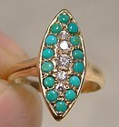 Victorian 12K Gold Turquoise & Diamonds Ring 1890 1900