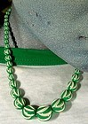 FRENCH CARVED GALALITH NECKLACE c1930s Green White NOS
