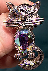 Rare Gustave SHERMAN WINKING CAT FIGURAL Brooch Pin 1950s
