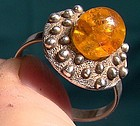 .835 SILVER & AMBER RING c1950s-60s