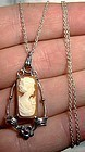 Vintage STERLING CAMEO PENDANT on CHAIN 1930s