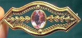 Edwardian 10K GOLD FILIGREE PINK CRYSTAL PIN c1900-10