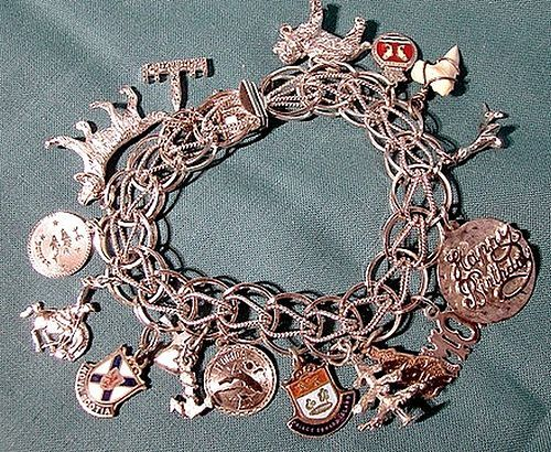 STERLING DOUBLE LINK CHARM BRACELET - 16 CHARMS