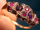 Edwardian 10K AMETHYST & RUBY SPINEL RING c1900-10