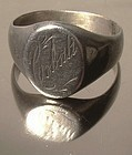 Edwardian STERLING SIGNET RING c1910-20