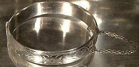 BIRKS STERLING ENGRAVED BANGLE BRACELET c1950s