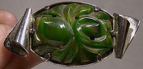 Superb ART DECO CARVED BAKELITE CHROME PIN c1920s-30s