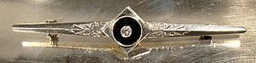 14K ART DECO ONYX & DIAMOND BAR PIN c1920s