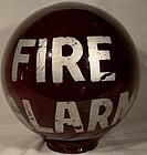 FIRE ALARM RED GLASS LAMP GLOBE c1920s-30s