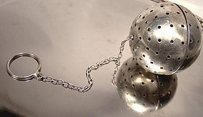ART DECO STERLING TEA BALL with CHAIN & RING