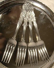 4 International MOSELLE SILVER PLATED LUNCH FORKS