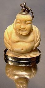Vintage 18K Hand Carved Buddha Figure Pendant or Charm