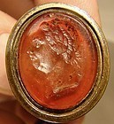 Gilt Brass GEORGE III GLASS INTAGLIO SEAL FOB c1780