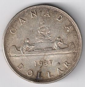 1937 CANADA Silver One Dollar Coin VF+