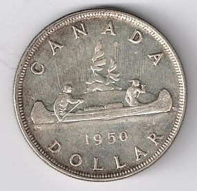 1950 CANADA SILVER $1 ONE DOLLAR COIN AU