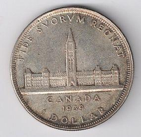1939 CANADA SILVER $1 ONE DOLLAR COIN AU