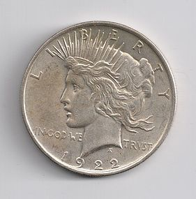 1922 U.S. SILVER PEACE $1 ONE DOLLAR COIN EF