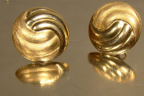 Vintage 14K YELLOW GOLD BUTTON STYLE EARRINGS