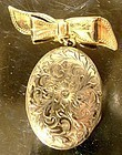 Hand Engraved GF PHOTO LOCKET on BOW PIN c1920s-30s