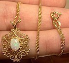 Vintage 14K VICTORIAN REVIVAL OPAL NECKLACE 1960s