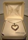 GILT STERLING HEART PENDANT NECKLACE w/DIAMOND