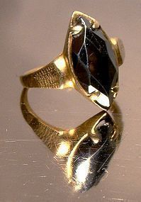 10K BLACK ALASKAN DIAMOND HEMATITE RING c1950s-60s
