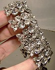 Flashy Signed SHERMAN WHITE RHINESTONE BRACELET c1950s