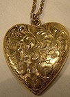 Hand Engraved Gold Filled HEART PHOTO LOCKET & CHAIN