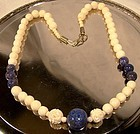 CARVED SODALITE and CARVED BONE BEAD NECKLACE c1930-50