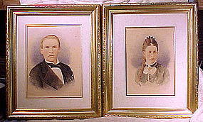 Pair WATERCOLOUR PHOTOGRAPHIC PAINTINGS of COUPLE
